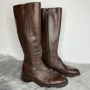 J Crew Brown Leather Round Toe Knee High Boots